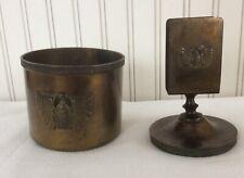 Karnak Egyptian Scarab Benedict Brass Cigarette Jar/Box and Match Holder 1920's