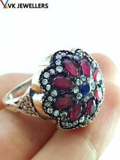 Turkish Traditional Jewelry 925 Silver Handmade Ruby Sultan Ring Size 7.5 R2723