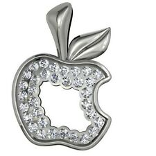 Sterling silver pendants, charm 925 silver New - Apple with Swarovski crystals