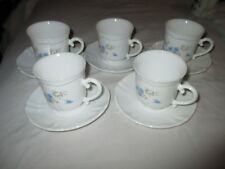 5 Arcopal France Pyrex Romantique tazas y platillos de cristal de leche