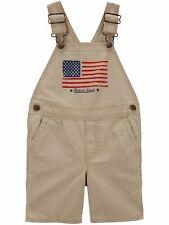 OshKosh Infant Boys Khaki American Flag Shortalls Overall...