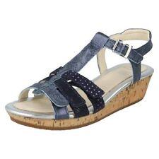 Chaussures bleus avec boucle en cuir pour fille de 2 à 16 ans