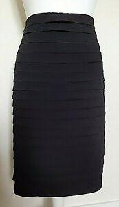David Emanuel Woman's Black Layered Ruffled Skirt Elasticated Waist - Size 24 uk
