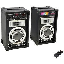 Pyle PSUFM837BT 800 Watt Disco Jam Powered Two-Way Pa Bluetooth Speakers, Pair