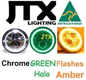 "1pr JTX 7"" Chrome LED Headlights with GREEN Halo Angel Eye Flashes AMBER"