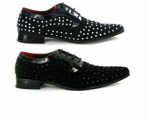 Men's Shoes Suede Shiny Rhinestone Polka Dots Stone Studs Laces Slip On Formal