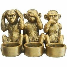 Speak Hear See No Monkey Gold Candle Holder Figurine Home Decor Gift