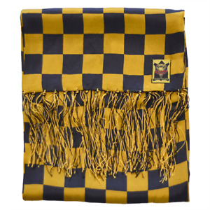 Mens 100% Silk Dress Scarf by Goldtop - Gold Chequered Racing Flag Design