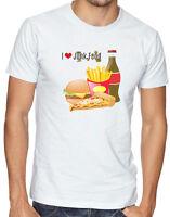 I Love Junk Food Fast Burger Coke Chips Pizza Fries Men Women Unisex T-shirt 697
