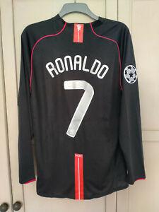 RONALDO MAN UNITED SHIRT 2007 2008 AWAY BLACK JERSEY MANCHESTER LONG SLEEVE XL