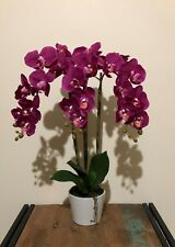 Artificial Fake Real Touch Purple Phalenopsis Orchid w White Ceramic Vase 60cm H
