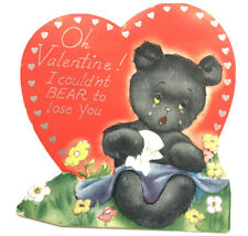VTG Valentine Card Die Cut 1930 Anthropomorphic Black Bear Crying teddy baby