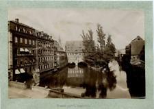Allemagne Nuremberg Un Vieux Pont Couvert Vintage print. Tirage albuminé  11