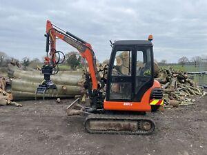Digger Hire Arb Tree Surgeon Forestry Log Grab And Rotor.