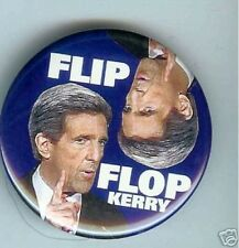 FLIP FLOP anti  John KERRY  2004 George W. BUSH pin