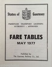 Guernsey May 1977 Fare Tables Bus Book