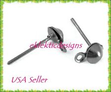 40pcs Gunmetal Plated Half Ball Stud Posts Earrings Jewelry Findings 4mm 20prs