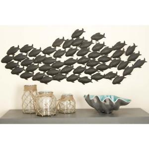 Wall Decor School Of Fish Home Art Hanging Sculpture Coastal Metal 53 x 20 in.