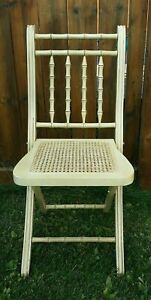 Antique White Wood Folding Walnut Chair