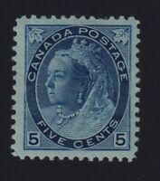 Canada Sc #79b (1899) 5c blue on whiter paper Numeral Mint VF H