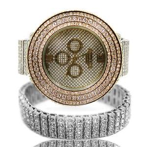Two tone Hip Hop Lab Diamond Gold Dial Watch & 4row Tennis Bracelet set 4