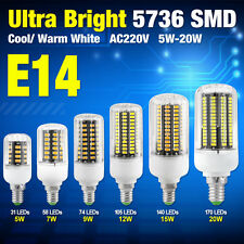 High Bright Bulbs 5736 LED Corn Lamps E14 220V 5W-20W Crystal Cover Lights 0DD5