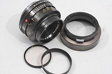 EXC++ VERY CLEAN LEICA SUMMICRON-R 50mm F2 LENS 2-CAM, RETAINING RING+HOOD, NICE