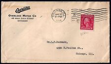 US 1916 OVER LAND MOTOR AD COVER CHICAGO FRANCE COIL STAMP Sc 492 EARLY USAGE