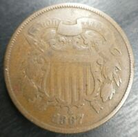 1867 Two Cent Piece 2 Cent 2CP VG Very Good or Fine F Problem Free Civil War Era