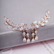 1pair Rose Gold Fashion Women  Leaves Tassel Ear Stud Zircon Earrings Jewelry