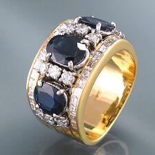 RING in 18K Gold - 3 Saphire ca. 2,5 ct + Diamanten ca.0,65 ct - 11,5 g - Gr. 52