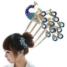JN_ Women Vintage Peacock Rhinestone Hair Clip Hair Comb Beauty Tool Jewelry S