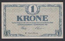 Denmark 1 Kroner 1916-21 VF+ P. 12,  Banknote, Circulated