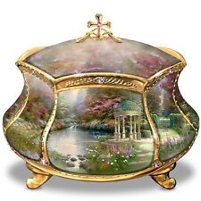Thomas Kinkade 22K Gold Trimmed Jewelry Box Musical Trinket Holder NEW