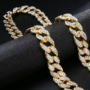 """Iced Out Cuban Chain 18""""20"""" Diamond Necklace Shiny Mens Hiphop Jewellery UK"""
