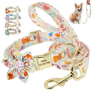 Nylon Personalised Dog Collar and Lead set Flower ID Collar Engraved Adjustable