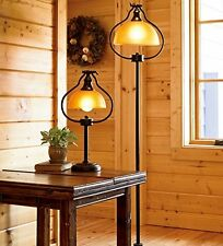 Antique Bronze Floor Lamp Amber Glass Shade Old Fashion Light Electric Library