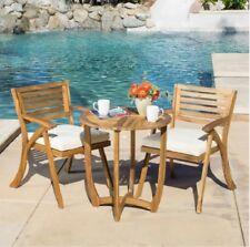 Wood Patio Bistro Set Table 2 Chairs Outdoor Teak Lawn Garden Pool Porch Deck In