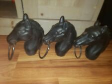 3 Antique Cast Iron Horse Head Hitching Post Fence Topper Old Rare