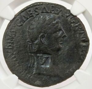 41- 54 AD ROMAN V COUNTER STAMPED CLAUDIUS AE SESTERTIUS COIN NGC VERY FINE