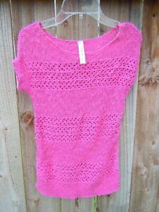 CHEROKEE Girls SWEATER Shirt size 10-12 Lg Pink Short Sleeve Crochet