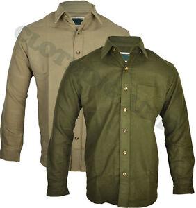 "Mens ""Moleskin Shirt"" Country, Hunting, Walking, Shooting ,Fishing Olive & Lovat"