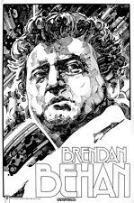 "BRENDAN BEHAN IRISH WRITER Signed Print by Jim FitzPatrick. A3 16""x11"" IRELAND"