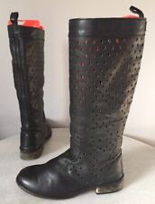 Diesel Black Leather Perforated Boots Prairie Distressed Women's Size 7