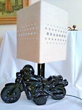 VINTAGE BLACK CERAMIC MOTORCYCLE TABLE LAMP WITH CREAM RETRO LAMPSHADE