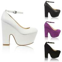 WOMENS LADIES CHUNKY THICK DEMI CUT WEDGE HIGH HEEL PLATFORM ANKLE STRAP SHOES