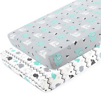 2 Pack Stretchy Fitted Playard Sheet Set Brolex Mini Crib Ultra Soft Elephant