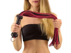 Heavy Flogger mit Ring rot schwarz Premium Leder Peitsche schwer BDSM SM Nr.5754