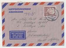 Bund Nr. 190 EF auf Luftpostleichtbrief/Aerogramm KÖLN-JOHANNISBURG 1957 (45908)