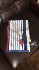 Polo RALPH LAUREN 35x66 Blue Stripe Embroidered PONY BEACH Velour Beach Towel
